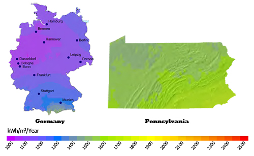 PA Compared to Germany for Solar PV Production